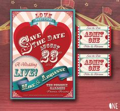 circus themed wedding invitations (by cottontail digital press) ~#repinned by Lori Cole for California Bridal Eventz