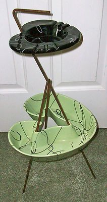 Hull Pottery Mid-Century Modern Ashtray  Planter on Stand