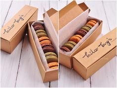 Love the shape, size and natural color of the packaging.  Enhances the look of the macaron treats!