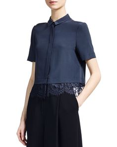 Whistles Betsy Silk Lace Shirt