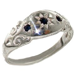 925 Sterling Silver Natural Sapphire Womens Band Ring  Sizes 4 to 12 Available *** For more information, visit image link.