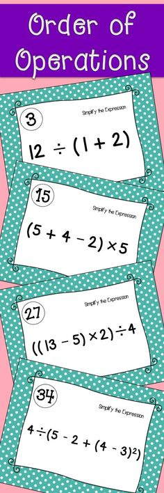 Free Order of OperationsThis product contains 1 worksheet with - order of operations worksheet