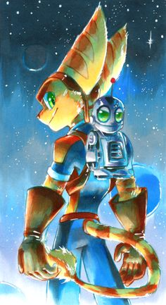 ratchet-and-clank-news-and-stuff:  Here's some awesome fan art by Strixic (http://strixic.deviantart.com/) on deviantART. - Lane the Lombax