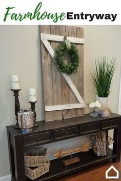 Create rustic farm charm with wood accents and greenery in your entryway. Candle holders and wicker baskets make excellent accessories on the Gavelston Console Table.