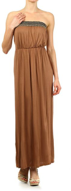 Brown Embellished Strapless Maxi Dress. Maxi dress fashions. I'm an affiliate marketer. When you click on a link or buy from the retailer, I earn a commission.