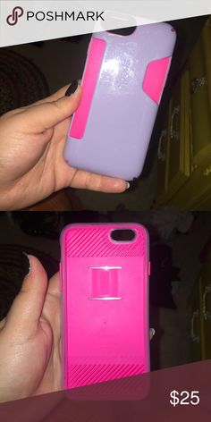 Speck IPhone 6s case Light purple and bright pink...I think it's able to fit about 3-4 cards Other