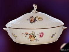 ROYAL COPENHAGEN Oval Covered Vegetable Dish Bowl w Handles Saxon Flower Gold #RoyalCopenhagen