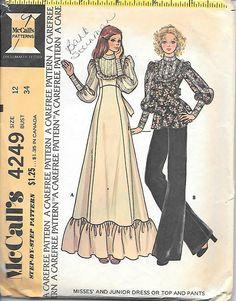 McCall's 4249 1970s Boho Long Dress Top Wide Leg Pants