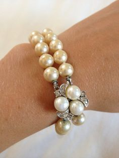 1950s Champagne Pearl Double Strand Bracelet with by TheWatchFob, $38.00