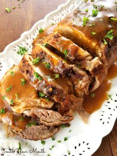 A fork-tender pork loin drenched in sizzling butter seasoned with Cajun spices cooked to crispy perfection. ♥ South Your Mouth Slow Cooker Pork Roast, Pork Roast Recipes, Crock Pot Slow Cooker, Slow Cooker Recipes, Cooking Recipes, Crockpot Recipes, Vegan Recipes, Roast Brisket, Pork Meat