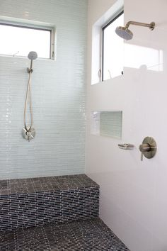 like recessed shower cubbies - built in bench | modern bath