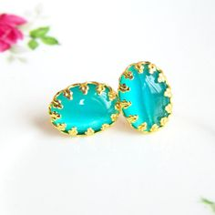 Turquoise Gold Studs Post Earrings - La Mer - Summer Style by Jewelsalem, $8.88
