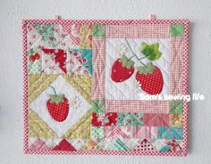 Cute strawberry mug rug.
