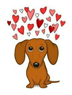 Cute Dachshund with Hearts Sticker Dachshund Art, Dachshund Puppies, Daschund, Dachshunds, Happy Puppy, Wow Art, Cat Supplies, Cute Stickers, Dog Toys