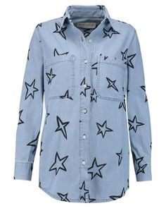 1a323e9e07148 Être Cécile | Blue Stars Embroidered Denim Shirt | Lyst Embroidered Denim  Shirt, Animal Print
