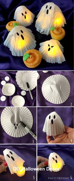 The easiest Halloween craft using cupcake liners and coffee filters. Facci Desig… The easiest Halloween craft using cupcake liners and coffee filters. Facci Desig…,Basteln Herbst Halloween The easiest Halloween craft using cupcake liners and. Manualidades Halloween, Adornos Halloween, Easy Halloween Crafts, Halloween Tags, Halloween Birthday, Diy Halloween Decorations, Holidays Halloween, Halloween Food Ideas For Kids, Childrens Halloween Party