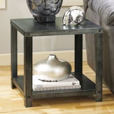 Signature Design By Ashley Hattney Gray Square End Table - End Tables at Hayneedle $90