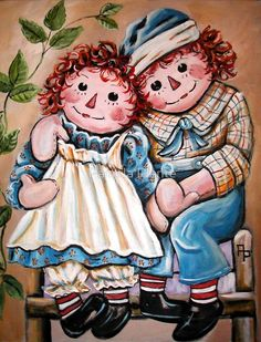 Raggedy Ann & Andy painting - acrylics on canvas. ~ I think this belongs on this board, dolls play such an important part in a child's growing years! Arte Country, Pintura Country, Pinterest Arte, Raggy Dolls, Ann Doll, Raggedy Ann And Andy, Holly Hobbie, Tole Painting, Primitive Painting