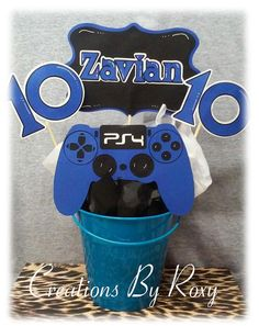 PlayStation Party Centerpiece by CreationsbyRoxy on Etsy 10th Birthday Parties, Birthday Games, 12th Birthday, Birthday Party Themes, Boy Birthday, Birthday Ideas, Game Truck Party, Party Games, Xbox Party
