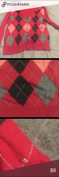 Lightweight Lane Bryant argyle cardigan.  16-18 Lane Bryant cardi.  I removed the tag because it always flipped out the back.  Red with heather grey, charcoal and pink argyle pattern.  Accented with rose gold stitching.  In good but uses condition.  No visible stains.  Some pilling and a small snag in the stitching but in great condition otherwise (see photos).  Priced to sell. Lane Bryant Sweaters Cardigans