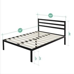 Zinus Modern Studio 14 Inch Platform 1500H Metal Bed Frame  Mattress Foundation  Wooden Slat Support  with Headboard Full * Click image to review more details. (Note:Amazon affiliate link) #Furniture