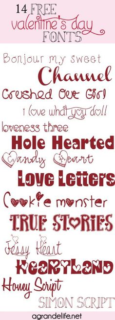 If you are working on Valentine's day crafts and printables, you need some fonts! Repin for 14 FREE Valentine's Day Fonts. Valentines day ideas, #valentine