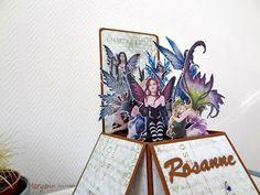 Carte box pop-up pour une collectionneuse de fées, autre vue. Détail sur le blog. Bonne visite. Maryann Scrap