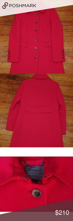 J Crew double cloth thinsulate lady day coat 10P Gorgeous! Vibrant flame color - excellent condition J. Crew Jackets & Coats Trench Coats