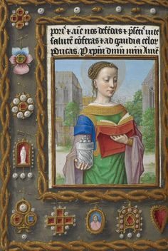 Hours of Joanna I of Castile- interesting. Surcoat, short sleeved kirtle, long droopy sleeves, and gold under-sleeves! Medieval Books, Medieval Manuscript, Medieval Art, Illuminated Letters, Illuminated Manuscript, Medieval Paintings, Renaissance Jewelry, Mary Magdalene, Book Of Hours