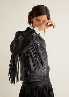 Leather Fringe design Fringe detail Classic collar Button up Long buttoned sleeve Two patch pockets on the chest Decorative fringing Decorative seams Inner lining Red Suede Jacket, Fringe Leather Jacket, Leather Jackets, Boho Fashion, Girl Fashion, Celebrity Outfits, Mantel, Jackets For Women, Style Inspiration