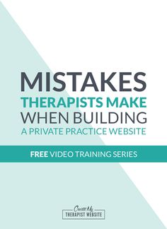 FREE 3-part Video Training Series for Therapists | Do you want to create a website for your therapy practice but don't know where to begin? This free training reveals a few simple tools you can use how to save time and money by building your own website. You'll also learn some mistakes therapists make when building there websites, and how you can avoid them. Click to get it for free…