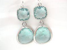 Aqua Earrings Soft Green Earrings Light Green by mlejewelry, $25.00
