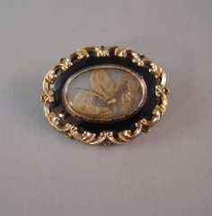 Victorian woven hair jewelry brooch blonde plumes
