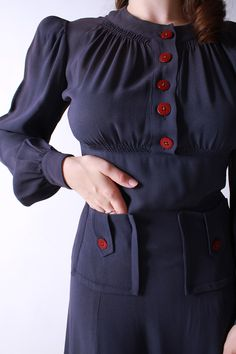 Vintage 1930s Dress - Amazing Slate Blue Rayon Late 30s Dress with Burgundy Buttons vis FabGabs