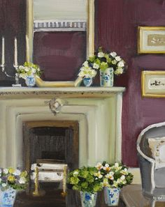 Flowers and a Fireplace by Janet Hill