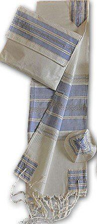 """Amazing Hand Woven White with Blue Stripes & Silver Accents Silk Tallit Set  The Tallit with the """"WoW"""" effect. A Jewish antique & rare piece of art."""