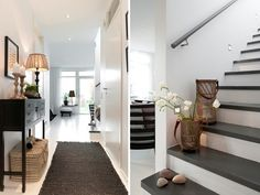 Ohh such a beautiful Swedish house up for sale. Im loving the black and white interior ! Black And White Stairs, Black And White Interior, Black White, White Wood, Dark Wood, House Of Philia, Modern Interior, Interior Design, Scandinavian Home