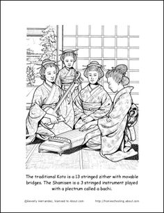 japan printables japan coloring page japanese musical instruments coloring page