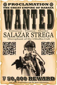 Salazar Strega wanted poster #steampunk #dirigibledays #wantedposter