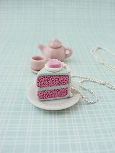 Food Jewelry. Bubblegum flavored Cake Necklace Polymer Clay, $12.00. Polymer clay charms.