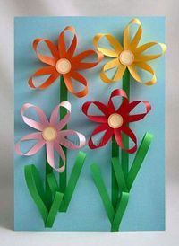 carterie, pergamano et tableaux - Page 13 Paper flowers Craft Activities, Preschool Crafts, Easter Crafts, Kids Crafts, Diy And Crafts, Spring Crafts For Kids, Summer Crafts, Art For Kids, Mothers Day Crafts
