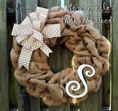 Burlap Wreath All Season Wreath White Chevron Bow by JennaBelles