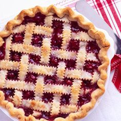 Bring all-time favorite cherry pie into the holidays. Although we tested it with refrigerated piecrust, you can use your own homemade crust, if you like. The filling gets a tasty boost from cinnamon and allspice.