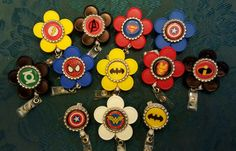 Nursing ID Badge Holders made from recycled medicine vials caps - Super Hero Collection