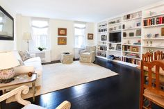 long wall tv and shelves