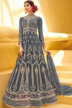 Glamorous look in ethnic style glowing net full stitched royal net embroidered pastel grey long anarkali gown in bridal wear. Long Anarkali Gown, Anarkali Tops, Anarkali Lehenga, Lehenga Suit, Anarkali Suits, Punjabi Suits, Bridal Lehenga, Designer Anarkali, Designer Gowns
