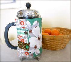 Patchwork Insulated Coffee Press Cozy. $16.95, via Etsy.
