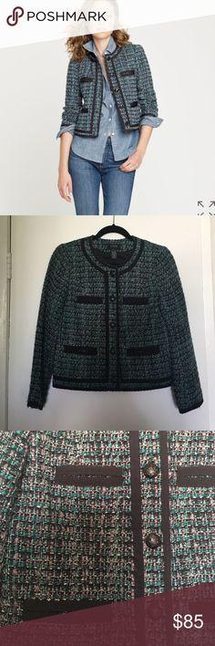 J.Crew Fanfare Jacket Size 4 45% acrylic, 36% wool, 6% rayon, 5% nylon, 5% cotton, 3% other fiber. Lining: 100% acetate. NO TRADES/PAYPAL. J. Crew Jackets & Coats Blazers