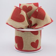 """VALENTINE/'S DAY Ribbon w// Flocked Hearts Love 2.5/"""" wide  By the yard. Wired"""