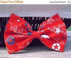ON SALE Americana Patriotic USA 4th of July. Red, White, and Blue Amercian Fabric Bow. July 4th Fabric Bow Depot Clips - pinned by pin4etsy.com